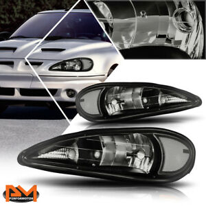 For 99 05 Pontiac Grand Am Headlight lamps Repalcement Smoked Housing Clear Side