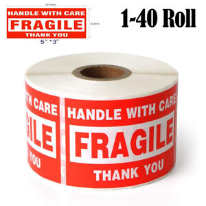 3x5 Large Fragile Warning Sign Stickers Handle With Care Thank You Labels