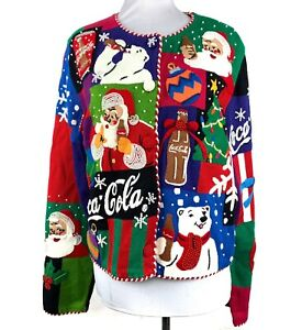 MICHAEL SIMON Coca Cola VTG Christmas Sweater Size M Black RARE Limited Edition