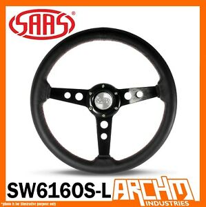 Saas Soft Leather Retro Black 14 Steering Wheel Black Spokes 350mm Classic