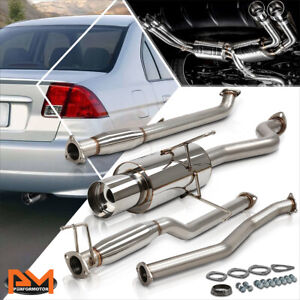 For 01 05 Honda Civic Dx lx gx hx 4 Tip Muffler Stainless Steel Catback Exhaust