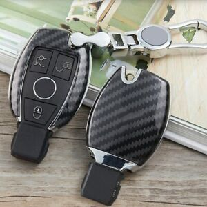Carbon Fiber Remote Car Key Fob Case Cover Chain Holder Shell For Mercedes Benz