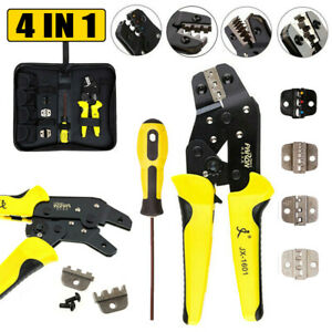 0 25 2 5mm 4in1 Crimper Clamp Tool Wire Ratchet Crimping Pliers Terminal Set