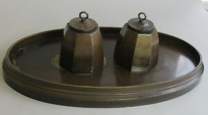 Large Signed 18 Antique Bronze Inkwell Art Crafts Style C 1920 Sculpture