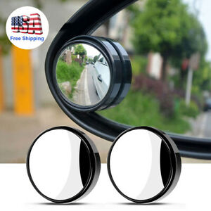 Pair Car Wide Angle Round Convex Mirrors Hd Frameless Rearview Blind Spot Mirror