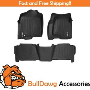Maxfloormat Floor Mats Liner Set For Chevy Gmc Cadillac Crew Cab Trucks Black