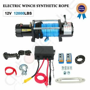 Electric Winch 12000lbs 12v Synthetic Rope Towing Truck Off road Jeep 4wd