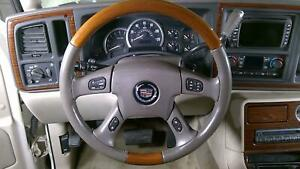 03 06 Cadillac Escalade Wood leather Steering Wheel With Bag Oem shale