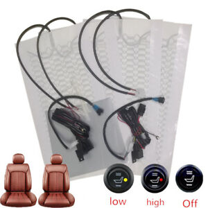 Universal 12v Car Carbon Fiber Heated Seat Heater Kit Cushion Round Switch Set
