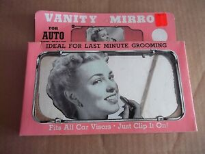 Vtg Large Clip On Sun Visor Vanity Mirror Car Truck Auto Rv 1950 s 60 s Nos