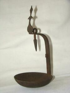 Antique Primitive Forged Iron Whale Grease Oil Betty Lamp Floating Hook