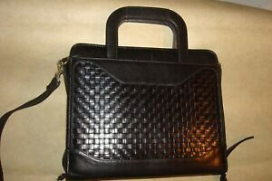 Franklin Covey Black Woven Leather Classic 7 ring Planner Retractable Handles