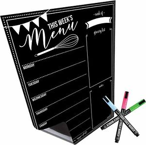 Magnetic Dry Erase Menu Board For Fridge 16x12 With 6 Bright Neon Chalk Markers