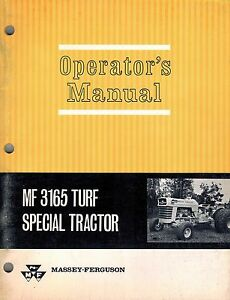Massey Ferguson Mf 3165 Turf Special Tractor Operator s Manual new