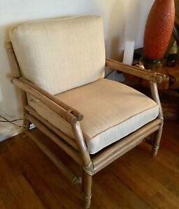 Vintage Mid Century Bamboo Rattan White Mcguire Accent Lounge Chair Mcm Modern
