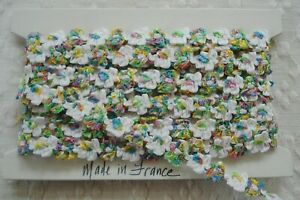 1y Vintage French Ombre Pink Grn Blue White Floral Flowers Satin Ribbon Trim