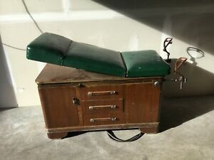 Vintage Hamilton Doctor S Medical Exam Wood Table With Stirrups Drawers