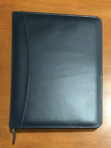 Franklin Covey Quest 7 Ring Binder Planner Blue Aniline Leather Gently Used