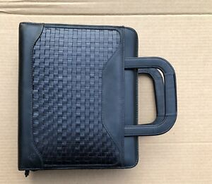 Franklin Covey Quest 7 Ring Binder Planner Black Woven Calfskin Leather