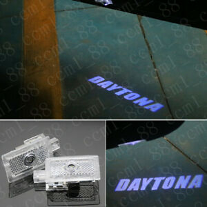 New 2x White Logo Led Door Courtesy Projector Lamp For Dodge Charger Daytona R T