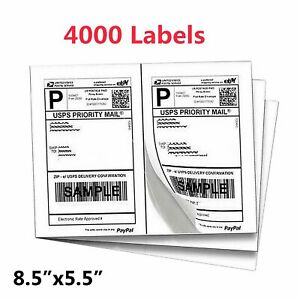 4000 Labels 8 5 x5 5 Half sheet Shipping Labels Self Adhesive For Ups Fedex