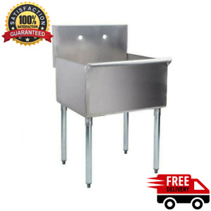 24 X 24 X14 Stainless Steel Commercial Utility Sink Prep Hand Wash Laundry Tub