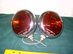 Vintage Red Ambluance Lights Unity Nos Pair Works Gm Ford Mopar 11 19