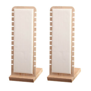 Set Of 2 White Necklace Display Stand Pendant Holder Rack Leather Surface
