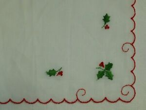 Antique Christmas Hanky Vintage Embroidered Holly Hankie Handkerchief