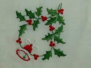 Antique Christmas Hanky Vintage Embroidered Bell Holly Hankie Handkerchief