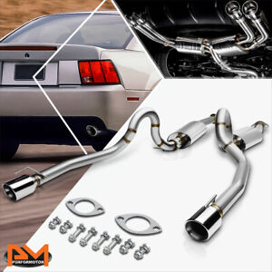 For 96 04 Ford Mustang Gt V8 Dual 4 Rolled Tip Muffler Catback Exhaust System