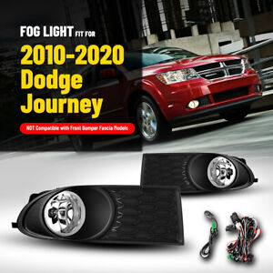 For 10 20 Dodge Journey Fog Lights Front Lamps Clear Lens Pair Wiring Kit Switch