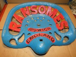 Ransomes Vintage Cast Iron Tractor Farm Implement Seat Antique