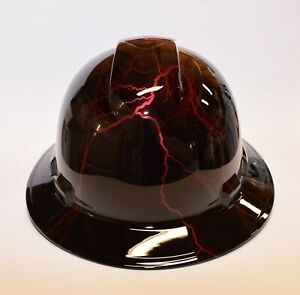 Custom Wide Brim Hard Hat Hydro Dipped In Candy Apple Red Lightning