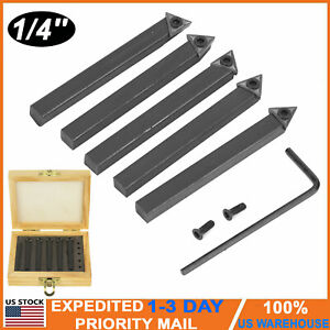 5pcs 1 4 Lathe Indexable Carbide Insert Turning Tooling Bit Holder Set W Box