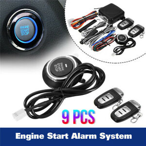 9pcs Car Start Push Button Remote Starter Keyless Entry Suv Alarm System Engine