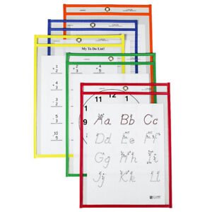 Reusable Dry Erase Pockets Primary Colors 9 X 12 Pack Of 25