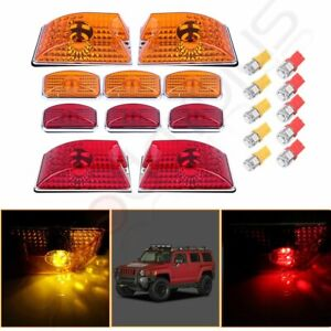 10x Amber red Cab Marker Roof Light W 5050 Bulbs For 03 09 Hummer H2 Suv
