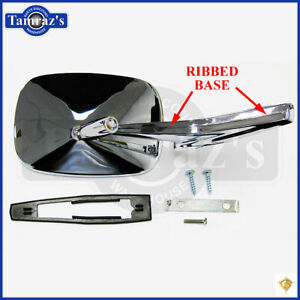 Chevy Chrome Rectangular Rear View Ribbed Base Door Side Mirror Hardware Lh