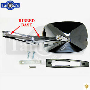 Chevy Chrome Rectangular Rear View Ribbed Base Door Side Mirror Hardware Rh