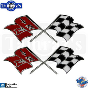 1957 Chevy Corvette Fuel Injection Cross X flag Fender Emblems Made In The Usa