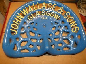 John Wallace Vintage Cast Iron Tractor Implement Seat Antique Nameplate