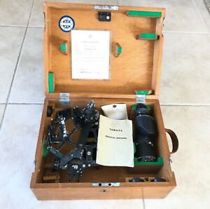 1968 Tamaya Ms 3 Nautical Sextant Complete With Spare Bulb Weathered