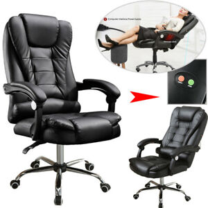 Executive Ergonomic Massage Chair Heated Vibrating Computer Office Desk Black Us
