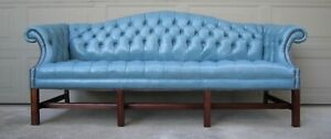 Vintage Tufted Leather Chesterfield Chippendale Camelback Sofa Blue Library