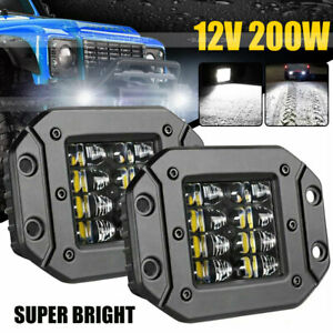2x 5 Flush Mount 200w Led Work Light Bar Rear Bumper Reverse Pods 4 Row Driving