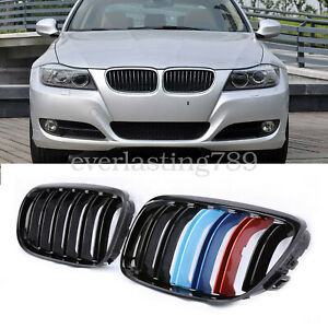 Kidney Grill Grille M color Gloss Black For Bmw E90 2009 2011 4d