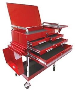 Sunex 8013adlx 350 Lbs Capacity 4 Drawer Deluxe Service Cart Red