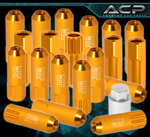 For Toyota M12x1 5 Locking Lug Nuts Wheels Extended Aluminum 20 Pieces Set Gold