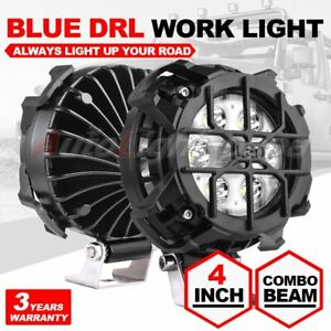 2x 4inch 100w Round Led Work Lights Combo Beam Drl Fog Light Offroad With Cover